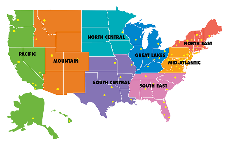 US Lacrosse Chapter Regions Map